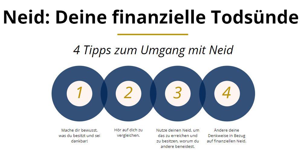 Die Grafik zeigt dir 4 Tipps zum Umgang mit Neid und um Neid loszuwerden.