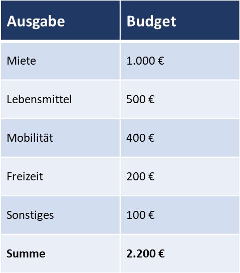 Die Grafik zeigt beispielhaft, wie Ausgaben in Budgets geplant werden können.